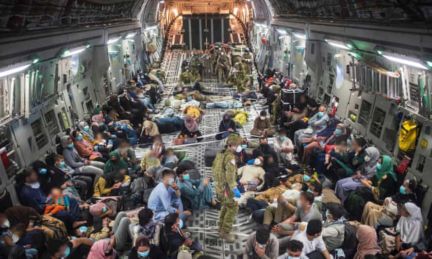 An evacuation flight from Kabul on 22 August carrying Australian citizens and visa holders.