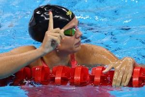Yulia Efimova after winning her semi-final.