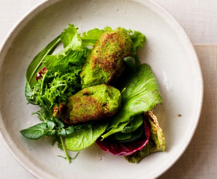 Pea and bacon fritters.