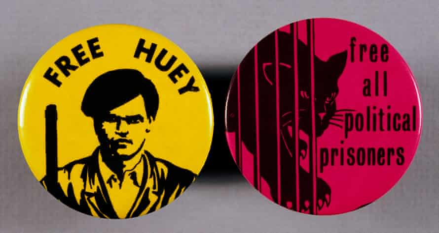 "A air of Black Panther party buttons, one reading ""Free Huey"" in reference to Huey P Newton, co-founder of the party."