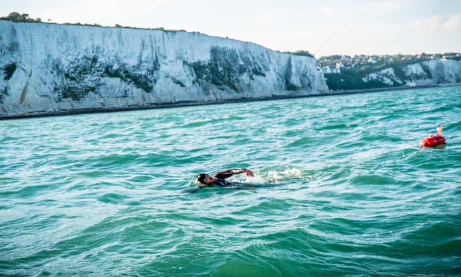 Ross Edgley passes Dover during his Great British Swim.