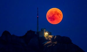 Total lunar eclipse on 27 July 2018, seen over the Säntis Mountain, Appenzell, Switzerland.