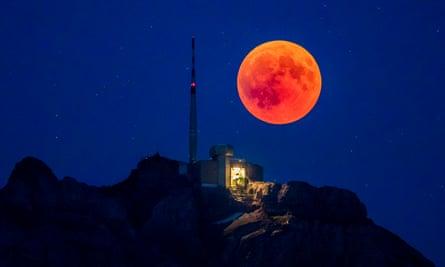 Total lunar eclipse on 27 July 2018, seen over the Säntis Mountain, Appenzell, Switzerland.