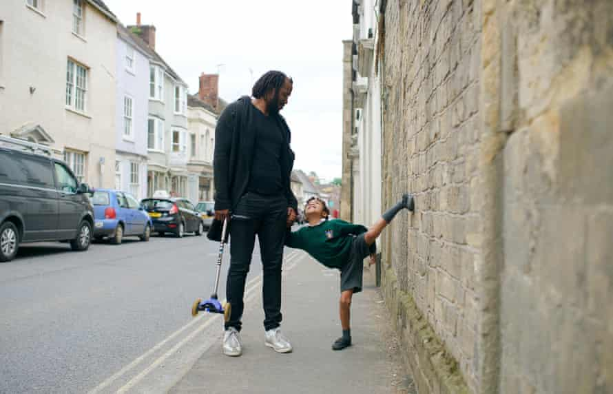 Rashid Johnson and son Julius out and about in Bruton, Somerset.