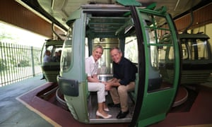 Bill Shorten and his wife Chloe on the Skyrail during a visit to Cairns