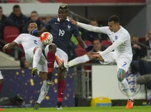 Pogba controls the ball under a challenge from Alli and Clyne.<br>