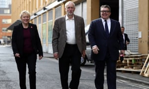 Eagle with Labour leader Jeremy Corbyn, centre, and deputy leader Tom Watson.