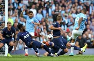Gabriel Jesus of Manchester City scores.