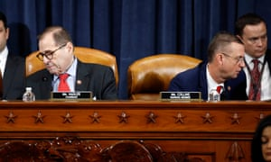Not speaking. Democrat Jerry Nadler (l) and Republican Doug Collins (r) at the judiciary committee vote this morning