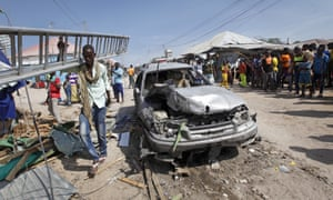 The aftermath of a blast in a market in Mogadishu in February which killed more than a dozen people.