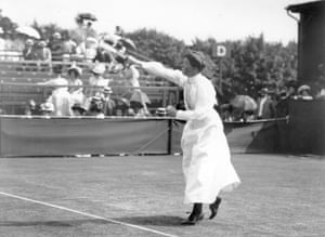 1890sCharlotte Sterry (nee Cooper) won her five women's Wimbledon singles titles, starting in 1895, wearing high collars, long sleeves and long skirts.