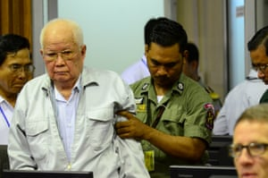 Former Khmer Rouge leader Khieu Samphan at the extraordinary chambers in the courts of Cambodia in Phnom Penh.