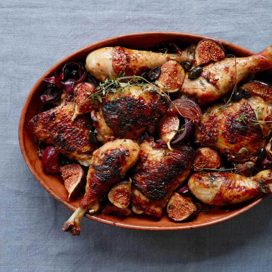Thomasina Miers roast chicken legs with sticky figs, red onions and oloroso vinegar.