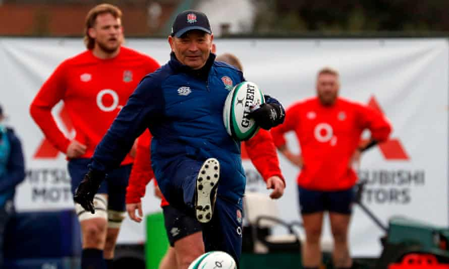 Eddie Jones leads a training session in Teddington, south west London, in the leadup to the Calcutta Cup match on Saturday.