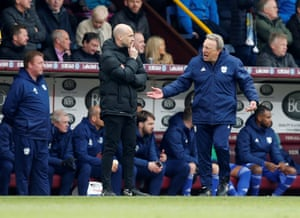 Cardiff City manager Neil Warnock isn't happy as he remonstrates with match official Anthony Taylor.