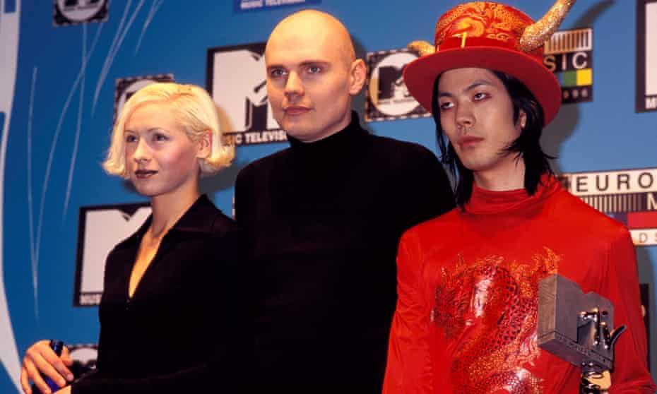 Smashing Pumpkins' D'arcy Wretzky, Billy Corgan and James Iha at MTV Awards Europe in January 1996.