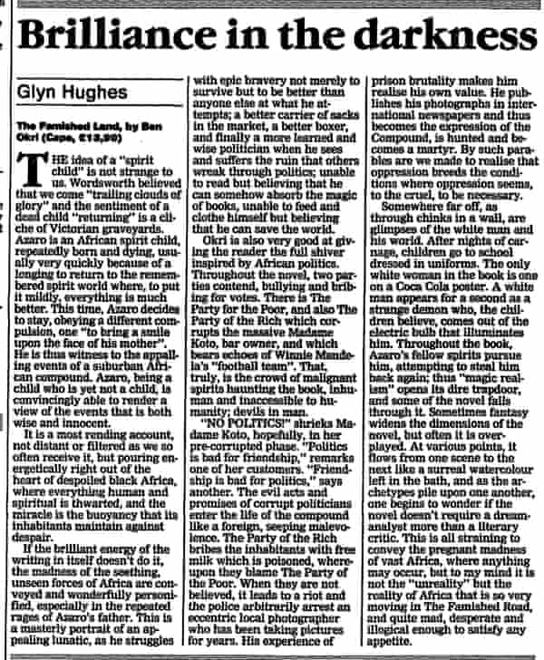 The Guardian's review of The Famished Road, from 21 March 1991