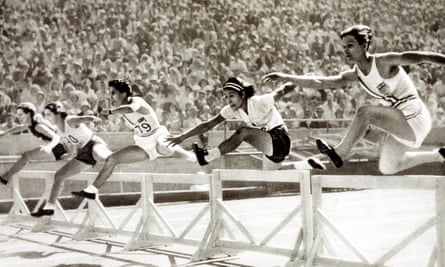 The 1932 Olympic Games in Los Angeles with Babe Didrikson (far right) on her way to winning a gold medal.