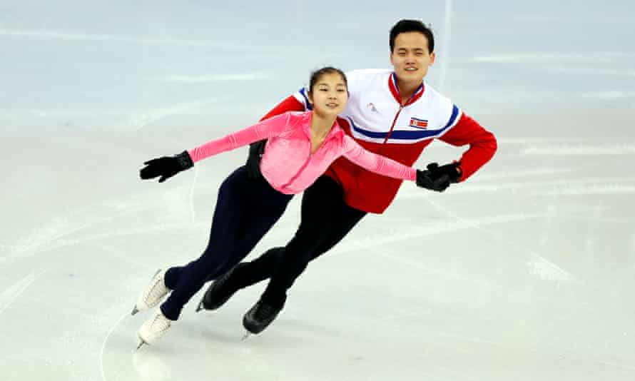 North Korean figure skater Ryom Tae-ok in training with her partner Kim Ju-sik. North and South Korea will march under one flag at the Games.