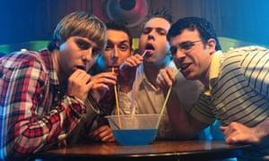 James Buckley, Blake Harrison, Joe Thomas and Simon Bird in The Inbetweeners Movie.