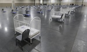 Cots and cribs at the Mountain America Expo Centre in Sandy, Utah in April 2020.