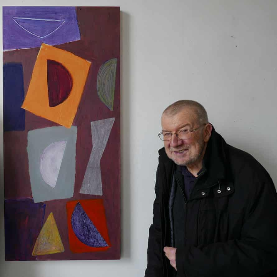 John McLean and his painting Seance in his studio in Deptford, 2015.