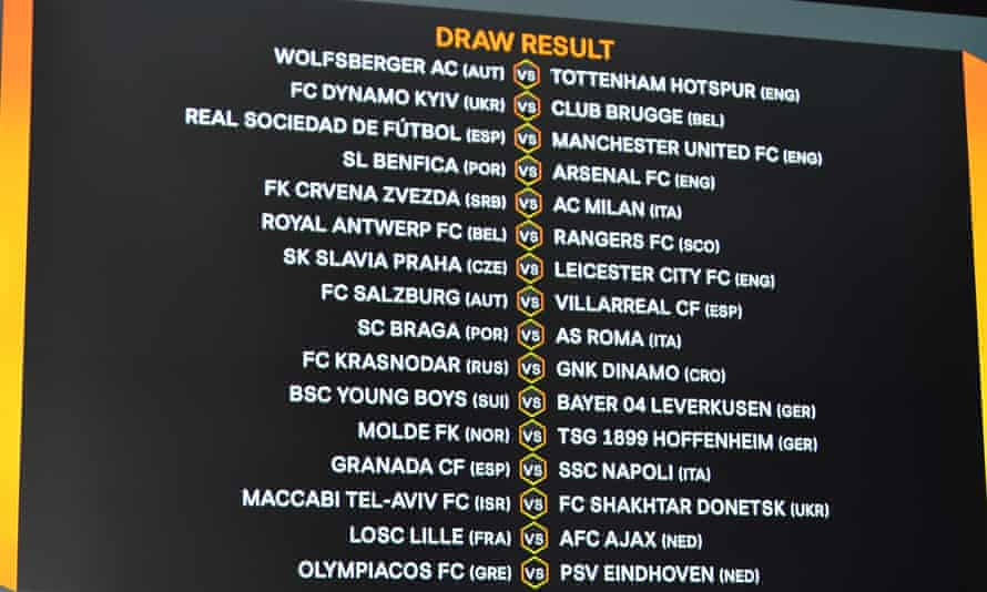 The Europa League draw in full, with Real Sociedad v Manchester United, Benfica v Arsenal and Lille v Ajax the pic of the last-32 ties.