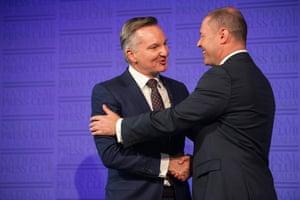Treasurer Josh Frydenberg (right) and opposition treasurer Chris Bowen at the National Press Club debate in Canberra on Monday.