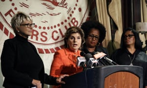 Attorney Gloria Allred, second from left, is joined by a woman who identified herself as Elizabeth, left, Charlotte Fox, second from right and Sarita Butterfield as she speaks on Thursday.