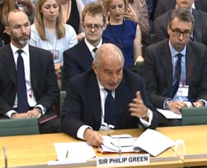 'It's hard to walk away from this experience with anything other than a total distrust of big business' ... Philip Green giving evidence to the Commons business select committee.
