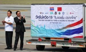 200,000 doses of the Sinovac coronavirus vaccine arrive at Bangkok's Suvarnabhumi International Airport.