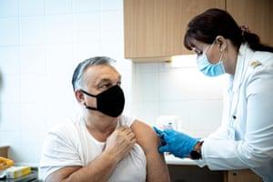 Hungarian PM Viktor Orban receives a coronavirus vaccination.
