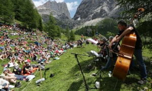 An outdoor classical music event in Sounds of the Dolomites.
