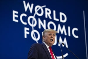 Trump ignored the climate emergency but backed the initiative - launched by Davos - to capture carbon by planting trees on an extensive scale in the coming years. Environmentalists were however unimpressed by a speech in which he boasted that support for the coal and oil industries meant the US was self-sufficient in energy