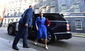 Priti Patel arriving for cabinet this morning.
