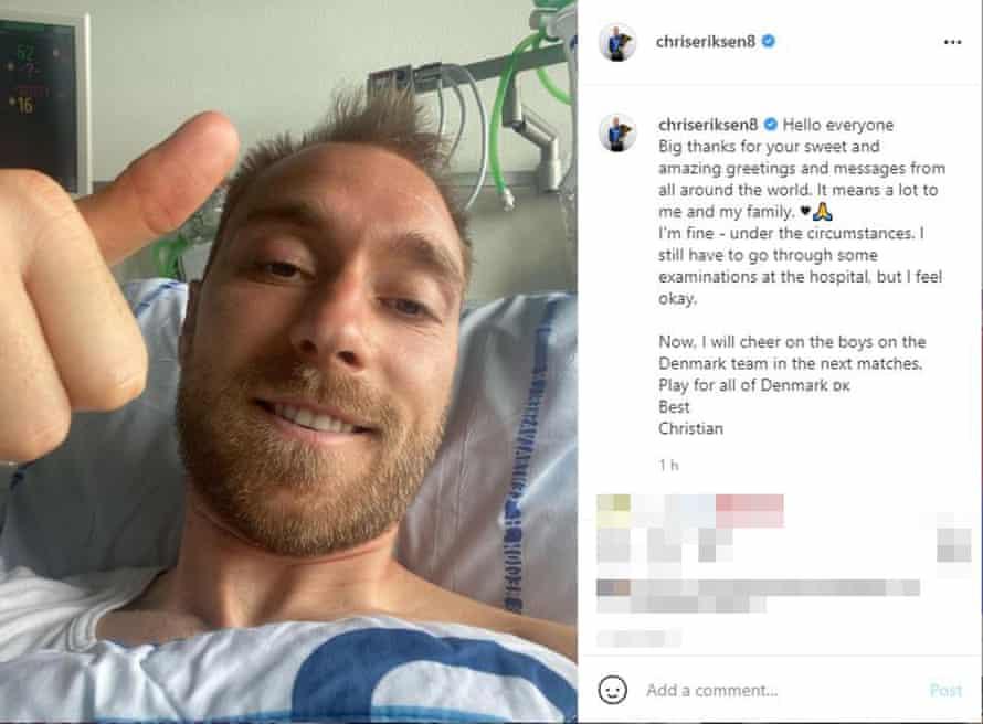 Christian Eriksen's Instagram post.
