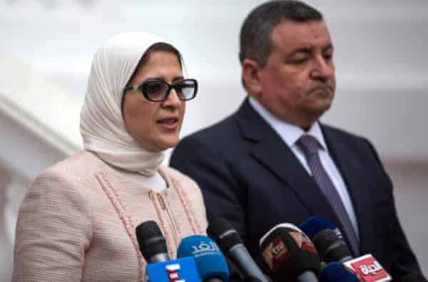 Egyptian Minister of Health Hala Zayed during a March 2020 press conference. She has insisted there is no shortage of medical oxygen.