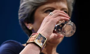 Theresa May wore a bracelet with images of Frida Kahlo on her right wrist during her speech at the Conservative conference.