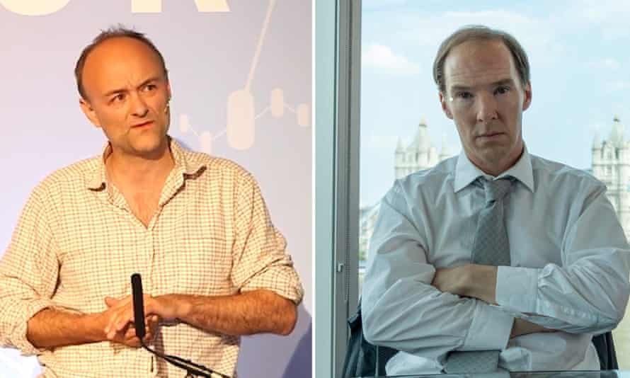 Dominic Cummings, left, and him portrayed by Benedict Cumberbatch