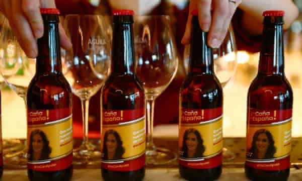 Beer bottle labels featuring Ayuso.