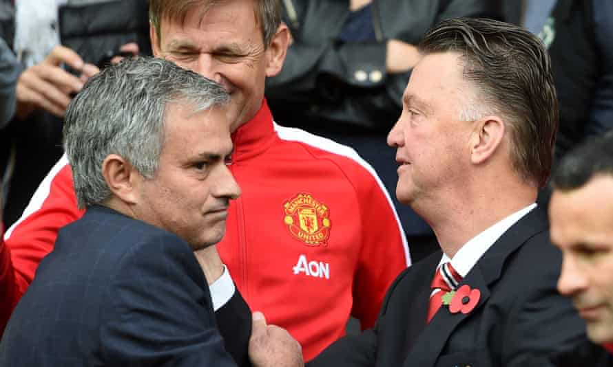 José Mourinho with Louis van Gaal when Chelsea drew 1-1 at Manchester United in October 2014
