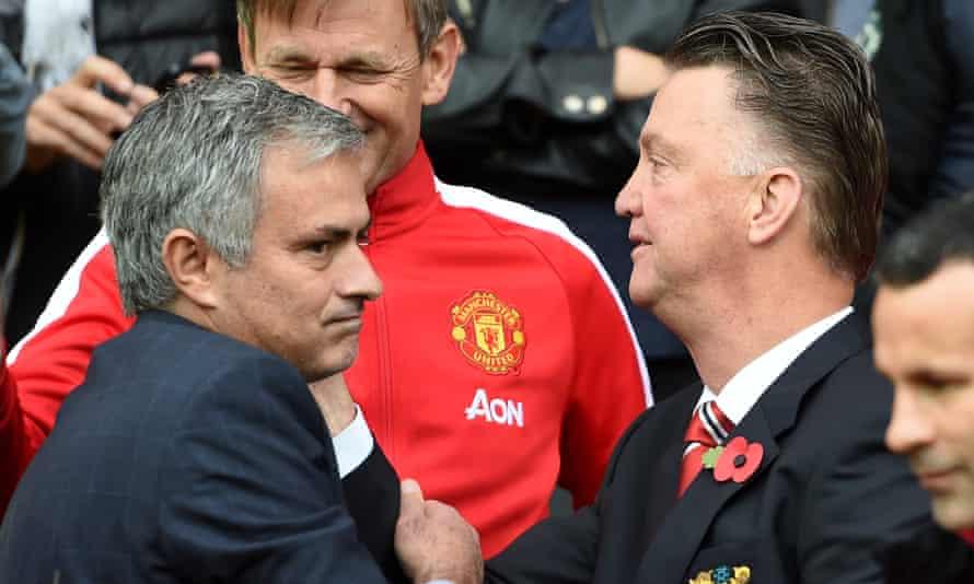 Jose Mourinho with Louis van Gaal