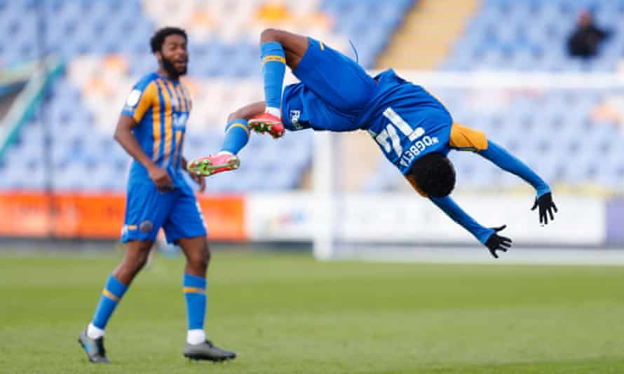 Nathanael Ogbeta celebrates after scoring for Shrewsbury against Plymouth in April.