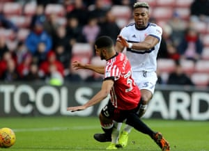 Jake Clarke-Salter was sent off for this tackle on Middlesbrough's Adama Traoré while on loan at Sunderland last season.