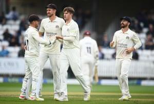 Jack Blatherwick celebrates the wicket of Marchant De Lange.