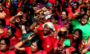 Trade unionists chanting anti-BJP slogans on a march in Bengaluru last week.