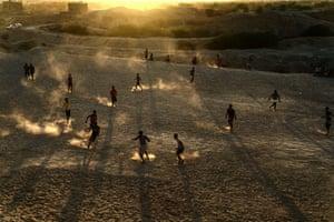 Football game in Shibam in Hadhramaut in December 2020