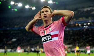 Stephan Lichtsteiner celebrates after scoring for Juventus against Borussia Mönchengladbach in the Champions League at Borrusia-Park.