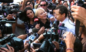 Anthony Weiner faces the press in 2013.
