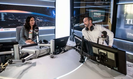 Aasmah Mir and Stig Abell prepare for the opening link of the first broadcast of Times Radio last week.